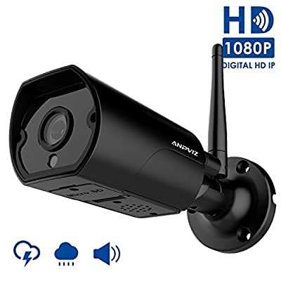 1080P Wireless security camera outdoor, Anpviz Wifi camera bullet weatherproof indoor and outdoor, 2 way Audio, suppport 128 Micro SD card (not included), come with power adapter(2018 New) by Anpviz