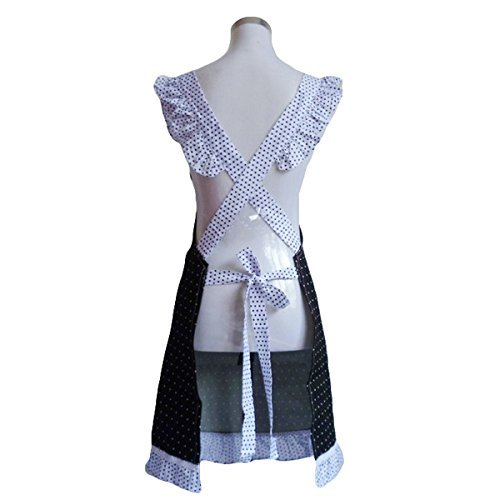 Black + White by Musuntas Musuntas Cute Princess Style Dots Pattern Falbala Women decorative kitchen cooking apron with 2 pockets Bowknot