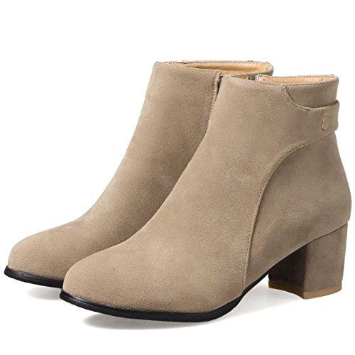 COOLCEPT Damen Bequeme Blockabsatz Ankle Stiefel Dress Schuhe Zipper (34 AS, Grey)
