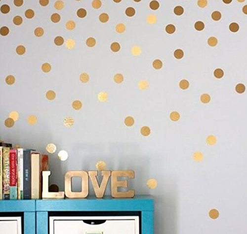 OUUD Gold Polka Dots Wall Stickers Vinyl Circle Decals for Children Kids Room Decor (54 PCS, 1.5 - Polka Dot Bubble Wall