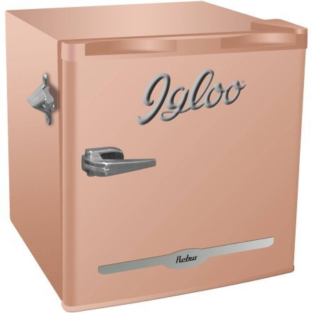 Igloo 1 6 Cu Ft Retro Bar Fridge With Side Bottle Opener   New Coral