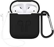 Airpods Accessories Set, OEAGO Airpods Case Protective Silicone Cover and Skin with [Keychain] [Airpods Strap] [Airpods Earhooks] [Travel Carrying Box Case] for Apple Airpod Charging Case - Black