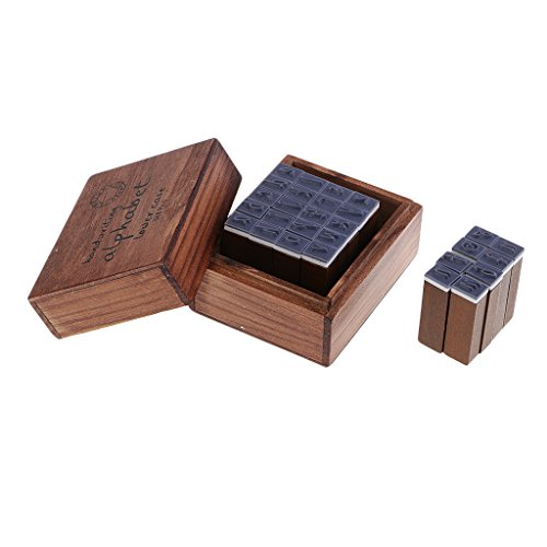 Homyl 28 Pieces Handwriting Alphabet Letters Wooden Rubber Stamps Seal Embossing Kit with Wooden Box Case Alphabet 28 Rubber Stamps