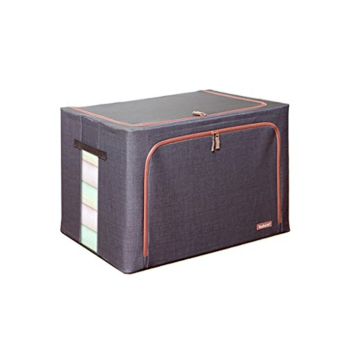 XJRHB Hemp Oxford Cloth Square Towel 4.5mm Steel Frame Waterproof Two-Way Zipper Storage Box Extra Large 100 Liter Steel Frame Storage Box 60 42 40cm (Color : Black)