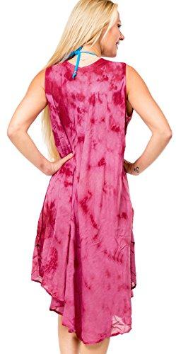 La Leela tie dye rayón sin mangas bordado ocasional las mujeres en todo 1 del bikini cubren hasta ropa playa fiesta informal vestido tirantes cóctel tapa la túnica suelta playa maxi vestido noche rosa