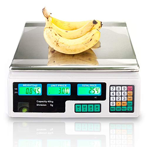 (88LB 40KG Electronic Price Computing Scale | Digital Deli Food Produce Weight Scales Counting Equipment with LCD Display for Retail Outlet Store, Kitchen, Restaurant, Food, Meat, Fruit (White))