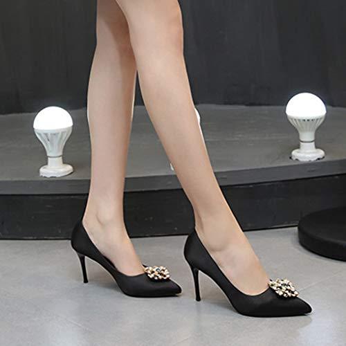 Banquet Pointus Aiguilles Bouts Chaussures Dames Escarpins Travail Femmes Pour Fête Black Sandales 8cm Talons Yra Pq4Baw5w
