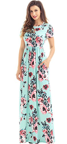 Sexy Celebrity Style Short Sleeve High Waist Floral Printed Pleated Long Maxi A-Line Dress Green (Celebrity Style Clothes)