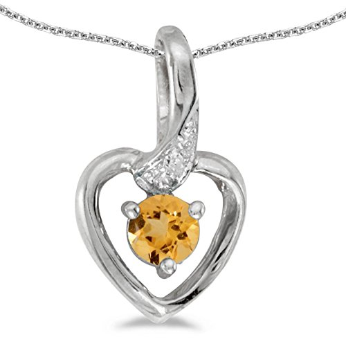 FB Jewels Solid 14k White Gold Genuine Birthstone Round Citrine And Diamond Heart Pendant (0.18 Cttw.) ()