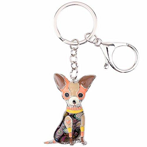 Chihuahuas Dog Key Chain Key Ring Pom Gift Women Girl Bag Pendant Charm Fashion (Brown) (Chihuahua Keychain)