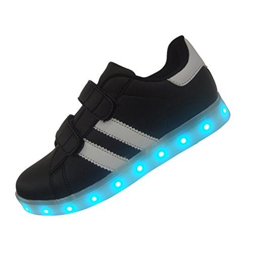 DAYOUT 7 Colors Rechargable Stripes Designs Boys Led Light Shoes Kids Girls Led Sneakers (US 11 / EU 28, Black)