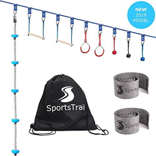 Ninja Slackline Monkey Bars Kit, 42'' Jungle Gym Obstacle Course for Kids and Adults + Climbing Rope, Warrior Training Obstacle Course Equipment, Slackline Gymnastic Bar, Tree Protector & Carry Bag