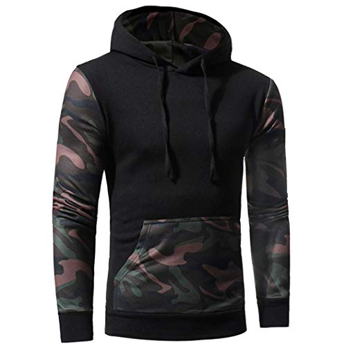 Danhjin Mens' Camouflage Long Sleeve Print Hooded Sweatshirt Tops Men's Jacket Coat Sport Outwear Motorcycle Jacket (Black, L) by Danhjin Mens'