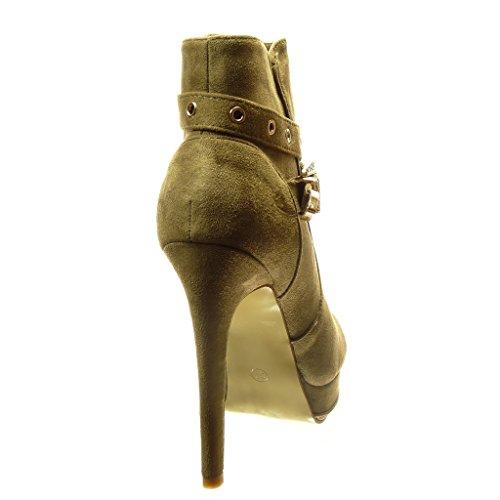 mujer de zapatillas plataforma de Angkorly Hebilla Zapatillas Piel CM alto Moda 5 plantilla sexy Talón Tacón Botines Forrada aguja Verde de perforado de 15 I5Yqx8xwX
