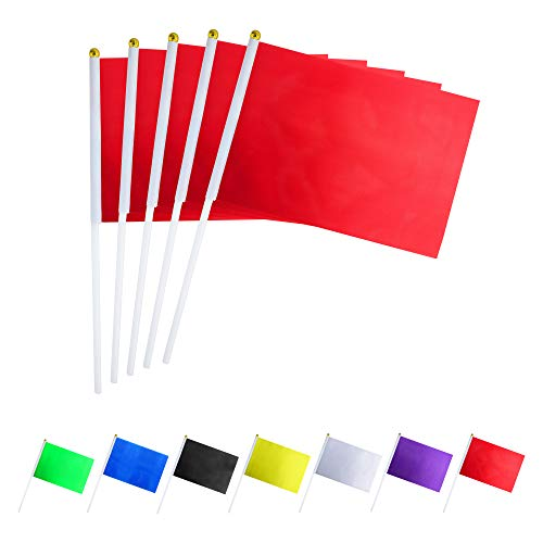 GentleGirl.USA 50 Pack red Flag, Pure Solid red Small Mini Banner Banner Flags Stick, Party Color Decoration Parade Supplies, School, Sports Club, International Festival Celebration