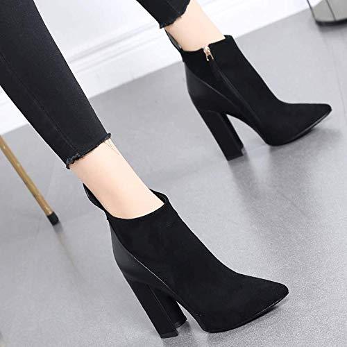 Botas Mujer Martin Con Muy Tacón Puntiaguda De Negro Descubiertas Y Corte Hrcxue Alto Gruesos Gamuza Zapatos Botines La wFUwX1