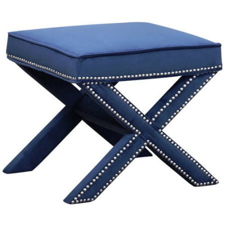 Devon & Claire Sturdy Micro-suede Fabric Navy Blue Preston Nailhead Trim Ottoman Bench