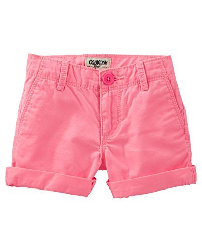 Neon Pink 12 Kids OshKosh BGosh Big Girls Twill Roll Cuff Shorts