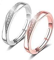[RLYKAL(ルリカル)] 指輪 レディース リング ピンキーリング (レディースリング石あり 2個セット, フリーサイズ (10~14号))