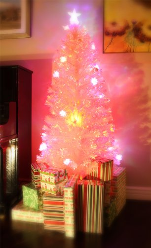 6.5 FT PRE-LIT MULTI COLOR LED LIGHTS & FIBER OPTIC WHITE CHRISTMAS TREE WITH STAR TOPPER by XmasBuddy (Image #2)