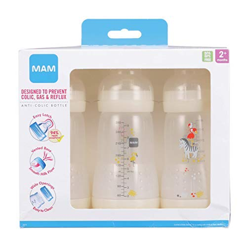 MAM Easy Start Anti-Colic Bottle, 9 oz (3-Count), Baby Essentials, Medium Flow Bottles with Silicone Nipple, Unisex Baby Bottles, White
