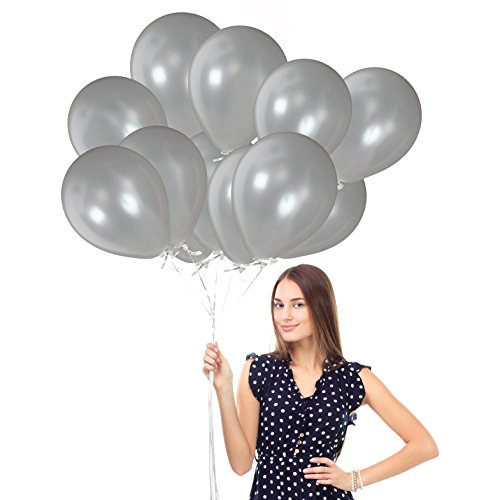100pcs of 12-inch Ultra-Thick Pearl Silver Metallic Gray Balloons Latex Balloons in Illuminating Silver and 65 Yards Crimped Curling