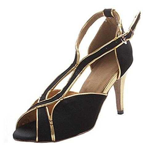 Minitoo Femme Th068Stiletto T-Strap daim Cuir Mariage piste de danse latine Taogo Dance Sandales - Noir - noir,