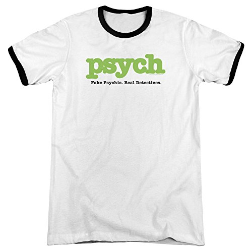 Psych Title Mens Adult Heather Ringer Shirt White/Black Lg