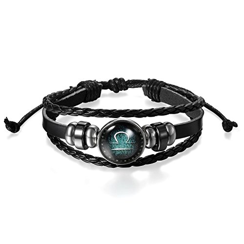 Young & Forever Men's Constellation Zodiac Luck Handmade Black Leather Bracelet Libra 10 by Young & Forever