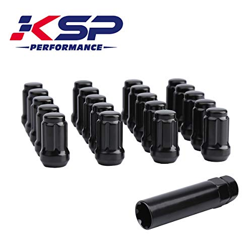 KSP 12mmx1.25 Black Tuner Wheel Lug Nuts Fit Nissan 350Z 370Z Infiniti G35 G37 Subaru Scion,6-Spline Chorme Conical Acorn Seat with 1 Socket Key for 5 Lug Tires, 1 Year Warranty