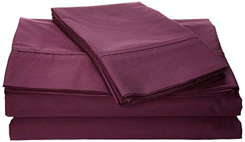 Tribeca Living Egyptian Cotton Percale 350 Thread Count Deep Pocket Sheet Set, Queen, Purple