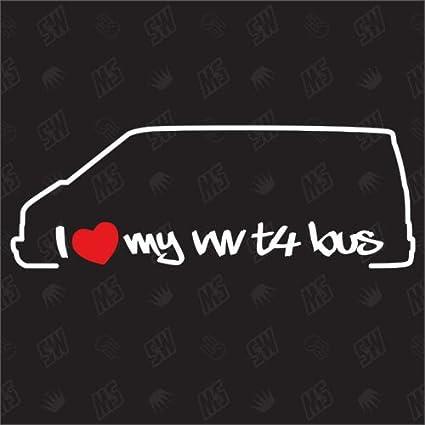 Speedwerk Motorwear I Love My T4 Bus Sticker Kompatibel Mit Vw Baujahr 1990 2003 Auto