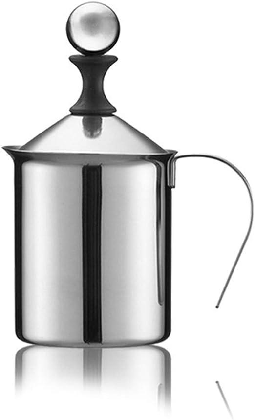 Espumador de mano de acero inoxidable caf/é cappuccin para cocina caf/é de doble capa 400ml doble malla espumador de leche
