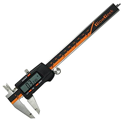 GlowGeek Electronic Digital Caliper Inch/Metric/Fractions Conversion 0-6 Inch/150 mm Stainless Steel Body Orange/Black Extra Large LCD Screen Auto Off Featured Measuring Tool from GlowGeek