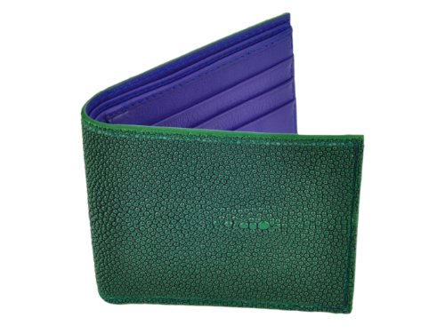 Card Stingray Green Wallet Leather Blue 6 Credit BiFold Green Slots wqSXxqAC7