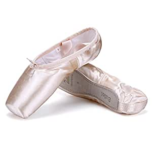 WENDYWU Professional Ballet Slipper Dance Shoe Pink Ballet Pointe Shoes with Toe Pad Protector for Girls (1)
