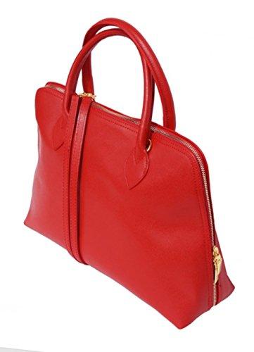 Italie véritable Fabriqué en Model SUPERFLYBAGS à Format en A4 CIRC rouge Saffiano cuir Sac main CqCfPOXw