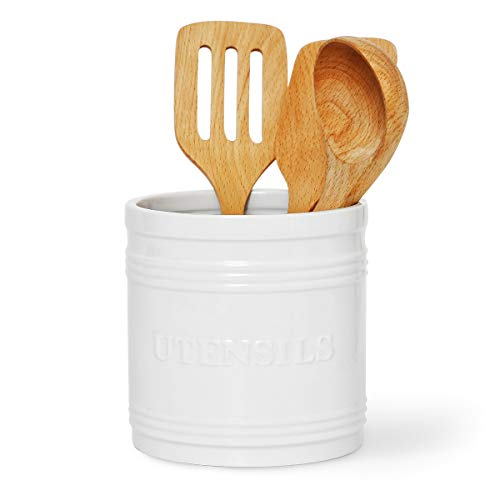 Porcelain Utensil Crock/Holder Large Size for Kitchen Storage, White