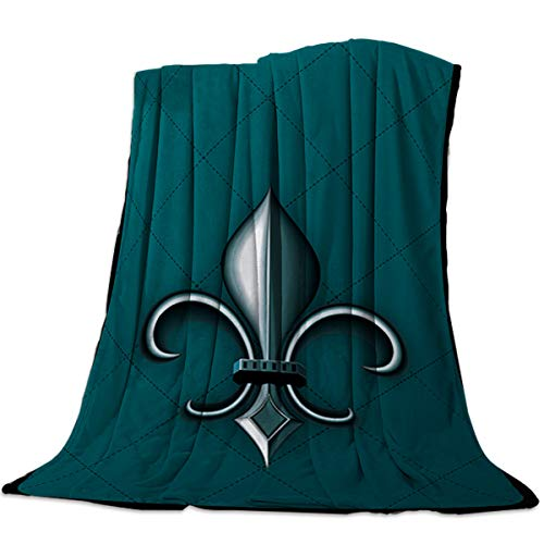 LOT BASIC Fleur De Lis Decor Flannel Fleece Stadium Throw Blanket Ethnic Lily Pattern Classic Grid Backdrop Printed Warm Plush Lightweight Couch Bed Blanket All Season Use, 60x80 inch