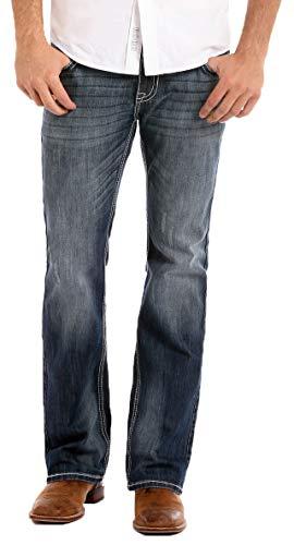 Rock & Roll Denim Men's Relaxed Fit Reflex Pistol Straight Leg Mid Wash Western Jeans (36x32) Dark Navy