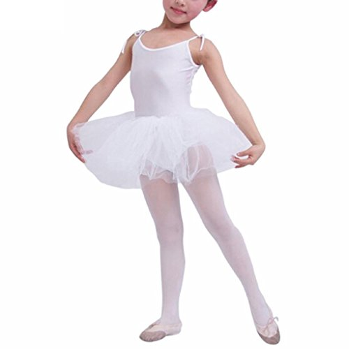 Buenos Ninos Girl's Leotard Ballet Clothes Tutus Dance Dress Kids Toddler Tights Costume Clothing Skirts White 4-5T -