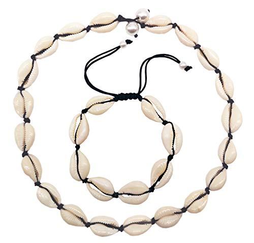 (LOHZAQ Natural Sea Shell Beads Handmade Hawaii Wakiki Beach Choker Necklace Adjustable Bracelet Anklet for Girls Ladies (18