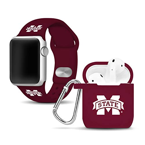 Affinity Bands Mississippi State Bulldogs Silicone Watch Band and Case Cover Combo Compatible with Apple Watch and AirPod Case