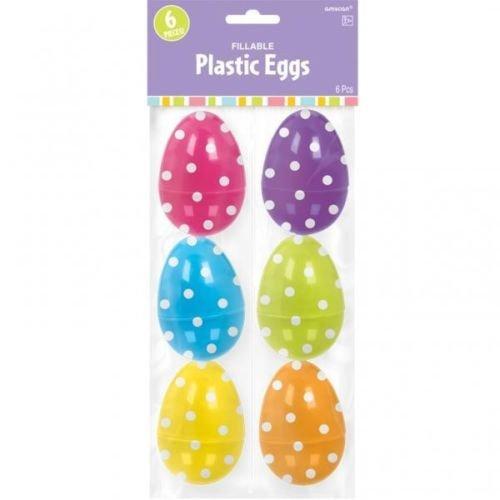 Large Plastic Polka Dot Fillable Easter Egg Hunt Decorations x 6 Amscan