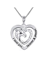 "Grecia Unicorn Necklace for Women I Love You Forever and Always Love Heart Necklace Lovely Animal Pendent Necklace, Jewelry Gift for Girls, Chain 18""+2.36"" Extender"