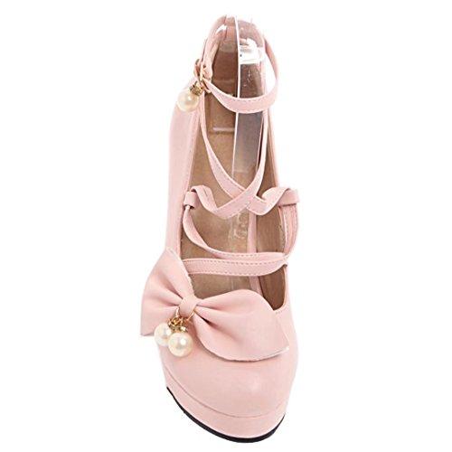 AIYOUMEI Blockabsatz High Heel Pumps mit Schleife und Perlen Cosplay Schuhe Damen Rosa
