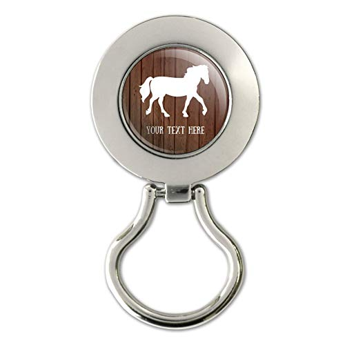 Personalized Custom 1 Line Horse Silhouette on Wood Magnetic Metal Eyeglass ID Badge Holder
