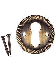 "Rope Pattern Aged Brass Decorative Keyhole Escutcheon | 1"" Diameter | Antique Reproduction Keyhole Cover Escutcheon Plate for Cabinet Door, Dresser Drawer, Desk | E-2AB"