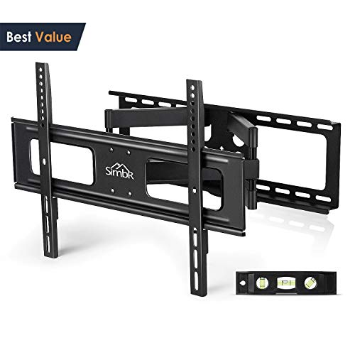 SIMBR TV Wall Mount Bracket with Full Motion Double Articulating Arm for Most 32-70 Inches LED, LCD and Plasma TVs up to VESA 600x400mm and 110 LBS, with Tilt, Swivel, and Level Adjustment