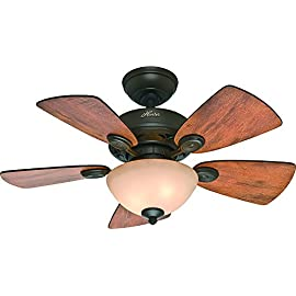 Hunter Indoor Ceiling Fan with light and pull chain control - Watson 34 inch, New Bronze, 52090 74 WhisperWind motor delivers ultra-powerful air movement with whisper-quiet performance so you get the cooling power you want without the noise you don't Reversible motor allows you to change the direction of your fan from downdraft mode during the summer to updraft mode during the winter 5 Cabin Home / Walnut Reversible blades included